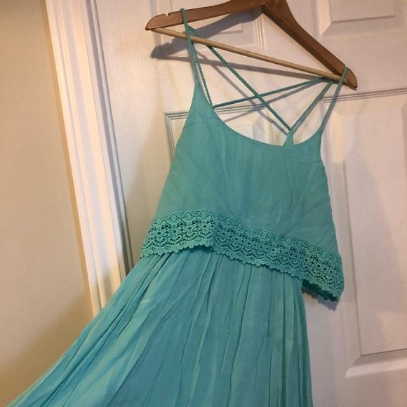 Teal Crochet Dress